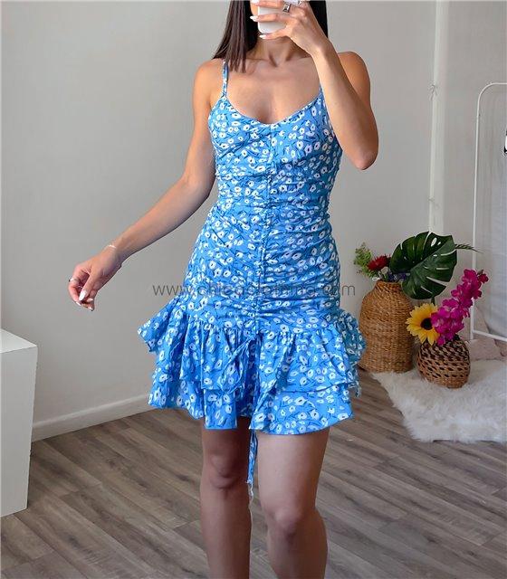 Φόρεμα daisy με βολάν (Μπλε)