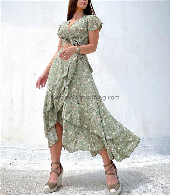 Σετ τοπ - φούστα φλοράλ με βολάν (Πράσινο)
