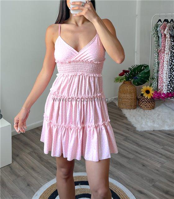 Μίνι φόρεμα πουά με τιράντες (Ροζ)