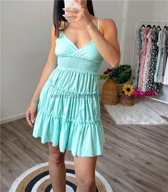 Μίνι φόρεμα πουά με τιράντες (Βεραμάν)