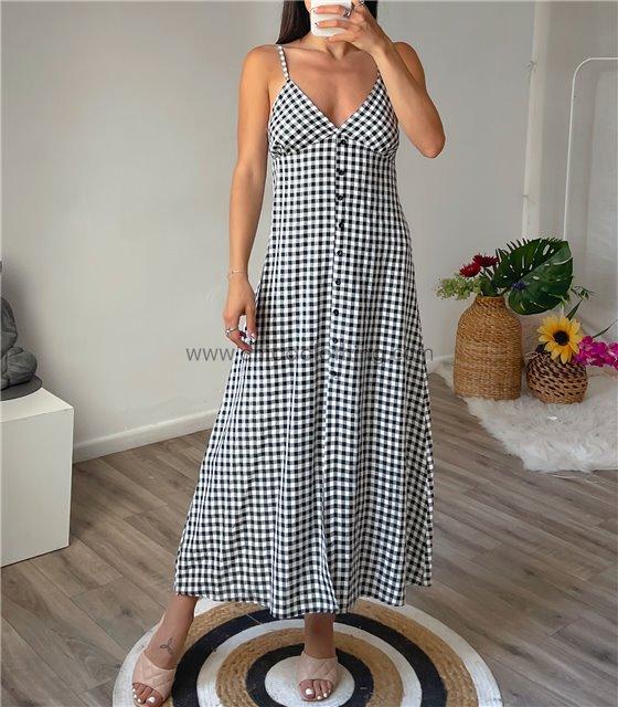 Μάξι φόρεμα καρό eve (Μαύρο)