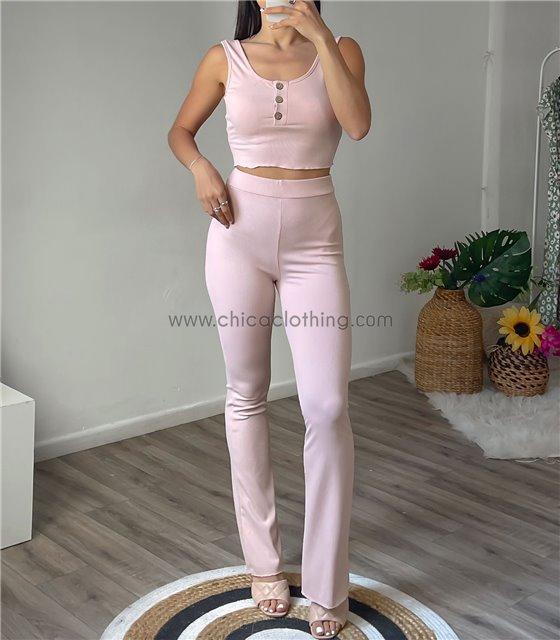 Σετ ριπ παντελόνα - τοπ αμάνικο με κουμπιά (Ροζ)
