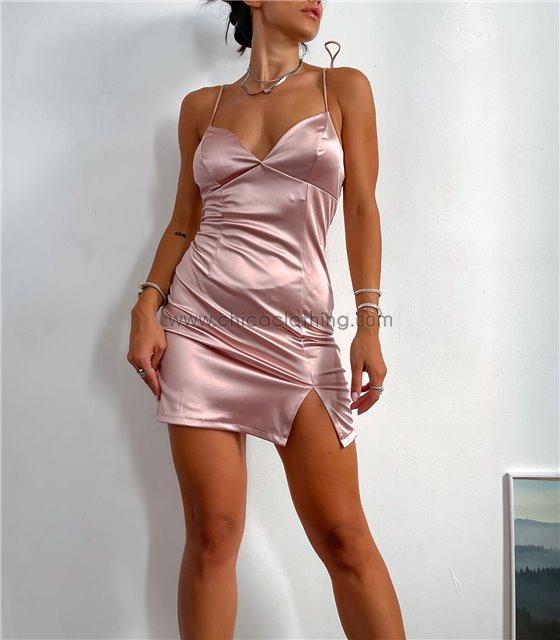 Φόρεμα σατέν με επένδυση (Ροζ)