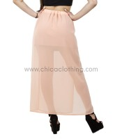 Coral maxi skirt with transparency