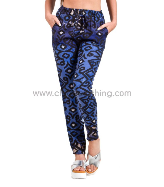 Blue printed pants high-waisted