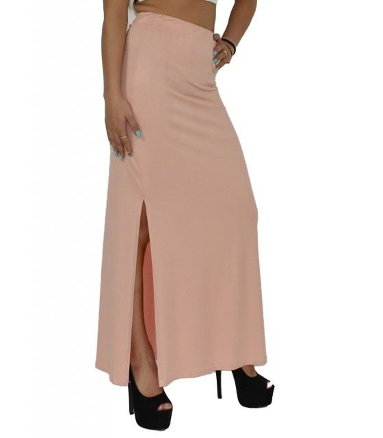 Μάξι φούστα ψηλόμεση ροζ