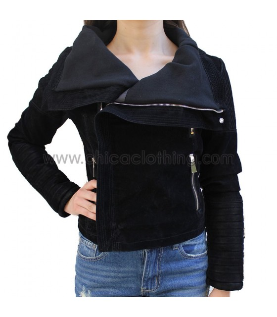 Faux leather suede jacket