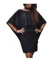 Φόρεμα βολάν εξώπλατο μαύρο