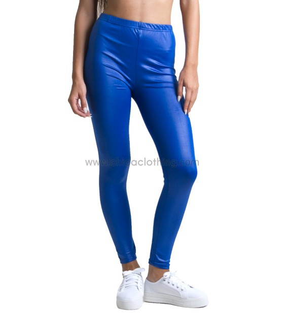 Metallic pop leggings blue