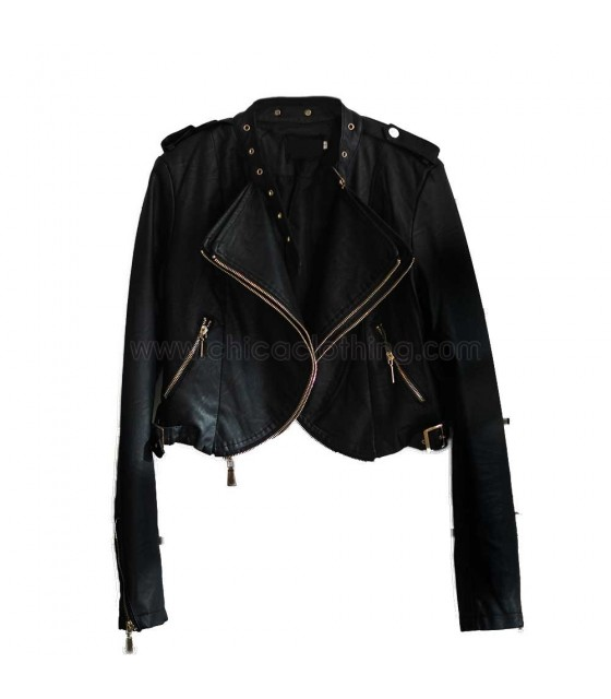 Black faux leather jacket with duble zip