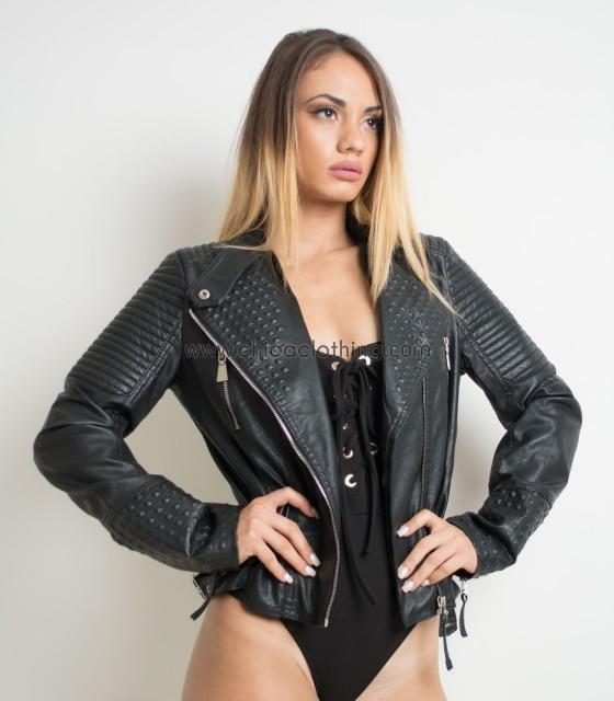 Black biker faux leather