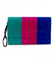 Bag envelope green-blue-fuschia