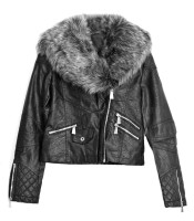 Jackets black leatherette short with fur collar removable