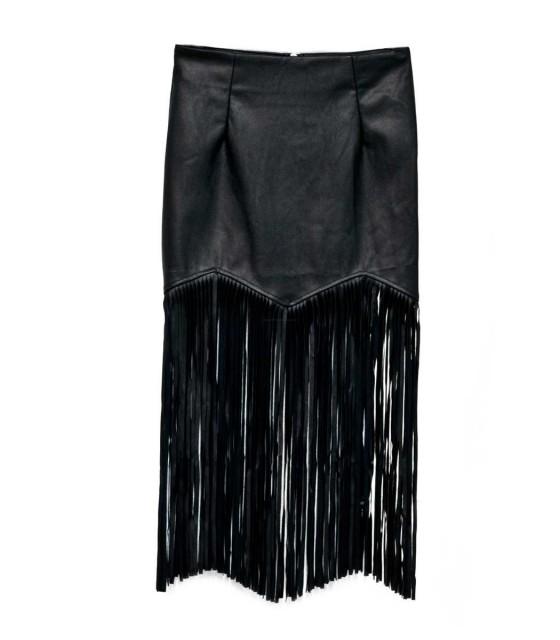 Midi faux leather fringe skirt - black