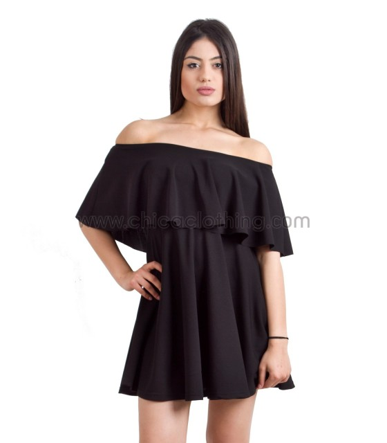 Στραπλες μίνι φόρεμα βολάν - Μαύρο