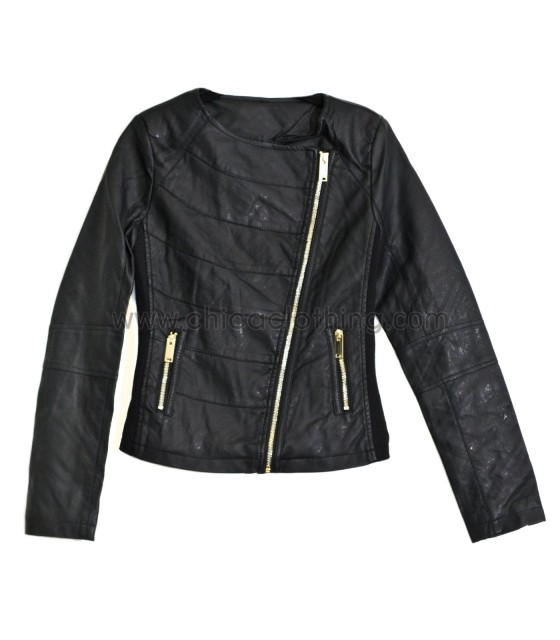 Black Asymmetric Zip Textured Jacket