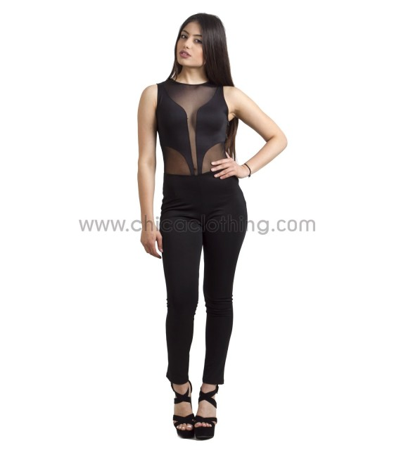 Jumpsuit with Plunge Mesh Insert (Black)