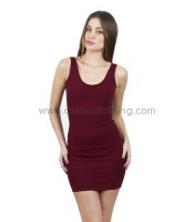 Shoulder Strap Mini Bodycon Dress with scoop back (Burgundy)