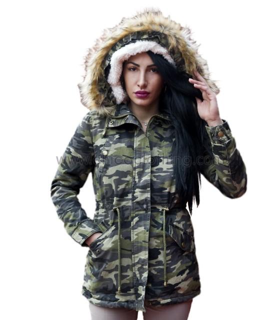 Παρκά γυναικείο στρατιωτικό με γούνα και κουκούλα