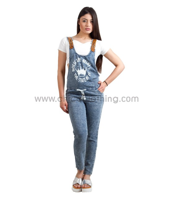 Stone washed denim dungaree with faux leather straps