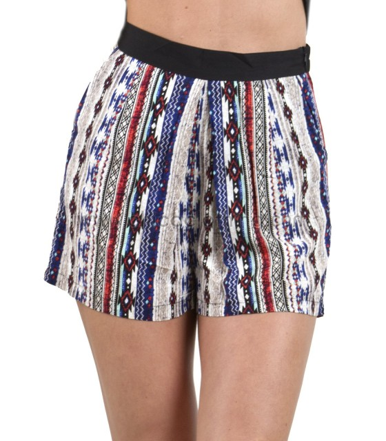 Geo-striped shorts blue