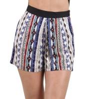 Geo-striped shorts blue