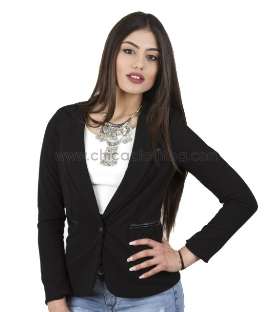 Black jacket with leatherette details