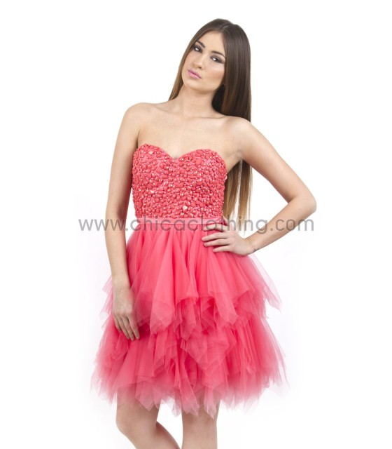 Strapless Tutu Dress with Tulle Skirt (Fuchsia)