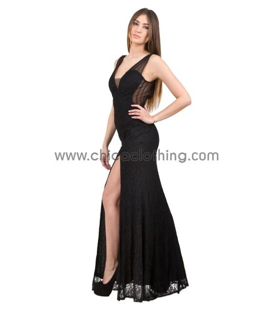 Δαντελωτό μάξι μαύρο φόρεμα με ανοιχτή πλάτη