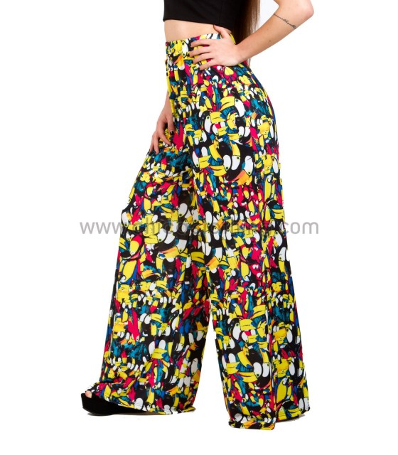 Highweisted wide trousers with toucan pattern