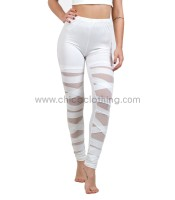 High waisted leggings with slits white