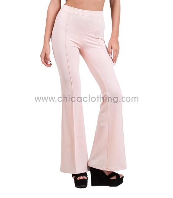 Ψηλόμεσο παντελόνι καμπανα με τσάκιση ροζ
