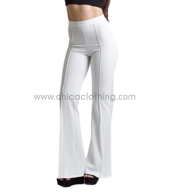 Ψηλόμεσο παντελόνι καμπάνα με τσάκιση λευκό