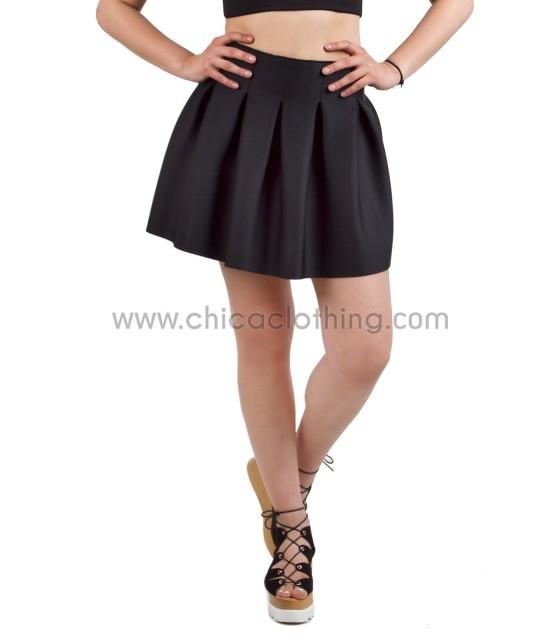 Φούστα μαύρη κλος με πιέτες
