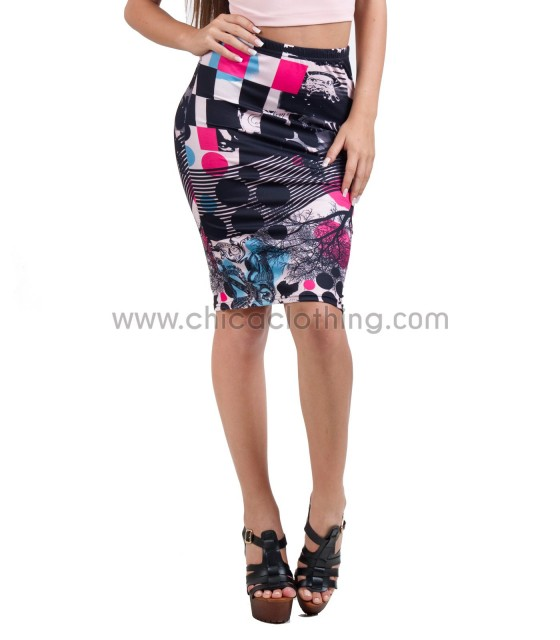 Midi pencil skirt multicolor