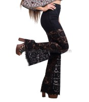 Lace high weisted flare trousers black