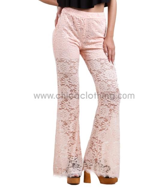 Ψηλόμεση παντελόνα δαντέλα με καμπάνα ροζ