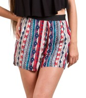 Geo-striped shorts red