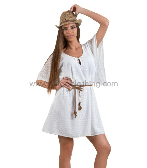 Wide sleeves dress white