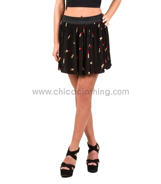 Pleated lipstick skirt (Black)