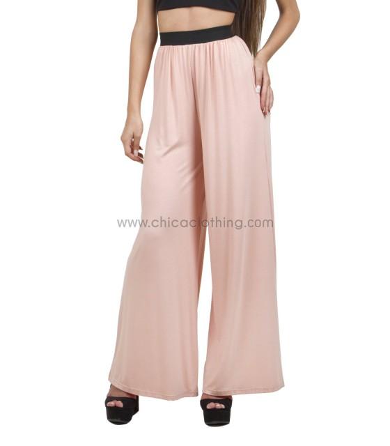 Ψηλόμεση παντελόνα ελαστική ροζ