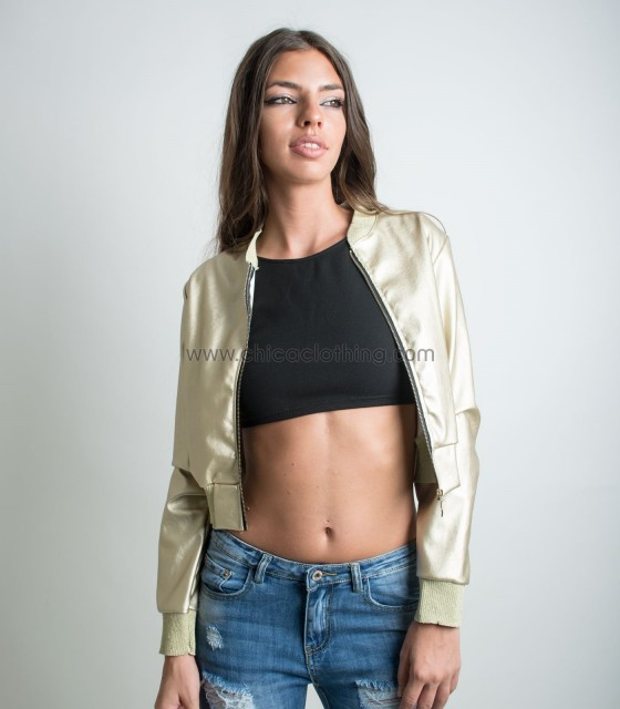 Faux leather jacket (Gold)