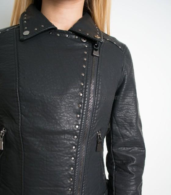 Jacket δερματίνη με μικρά τρουκς μαύρο