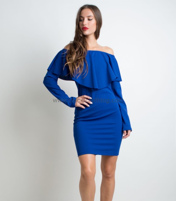 Ruffled bardot dress (Blue)