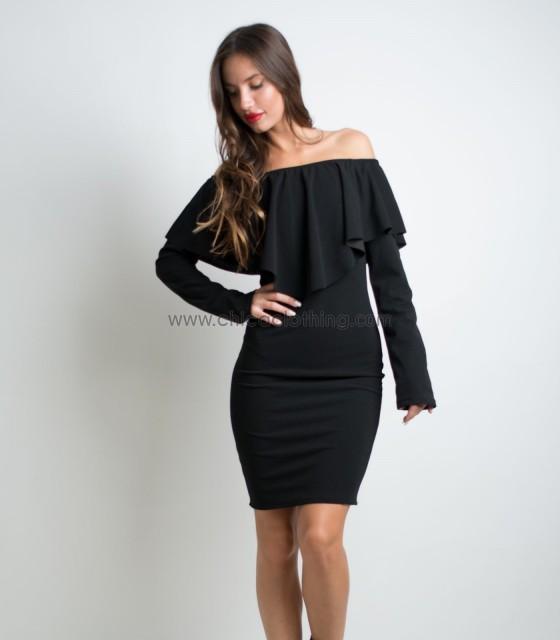 Ruffled bardot dress (Black)