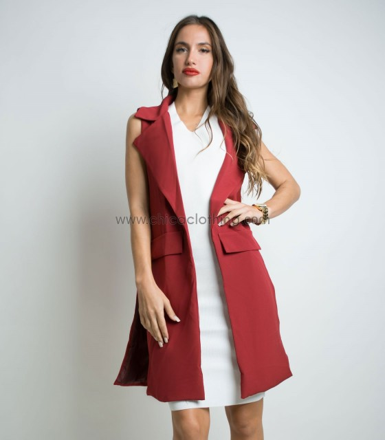 Sleeveless blazer with side chains (Burgundy)