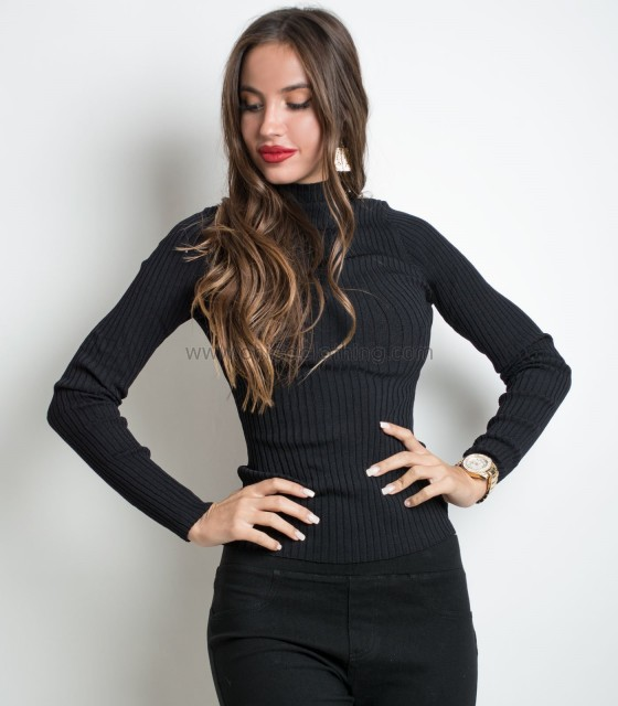 Roll neck top Black