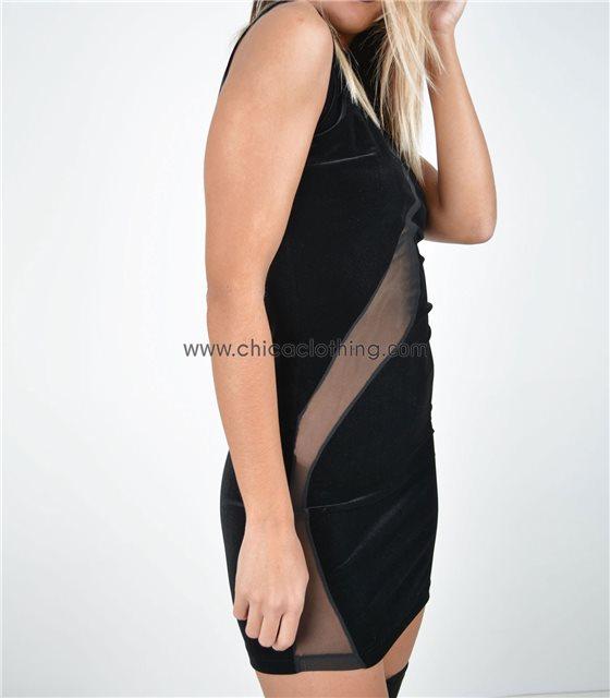 Εφαρμοστό φόρεμα με λωρίδα διαφάνεια (Βελουτέ)