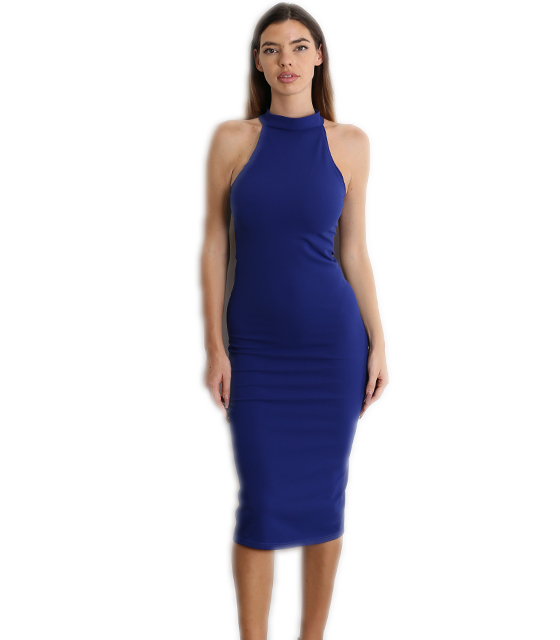 Midi αμάνικο εφαρμοστό φόρεμα σκούρο μπλε