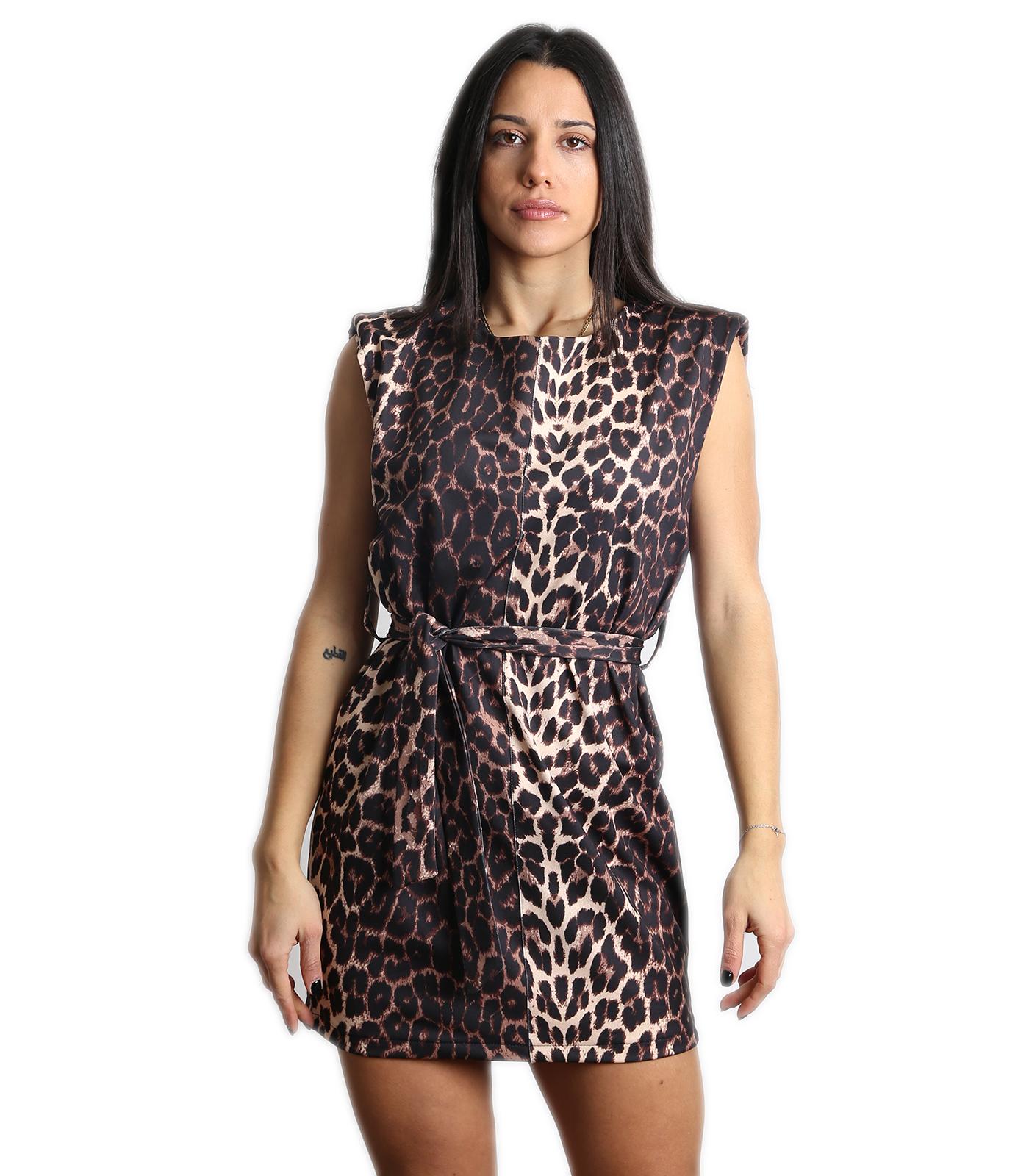 Αμάνικο φόρεμα με ζώνη (Λεοπάρ)